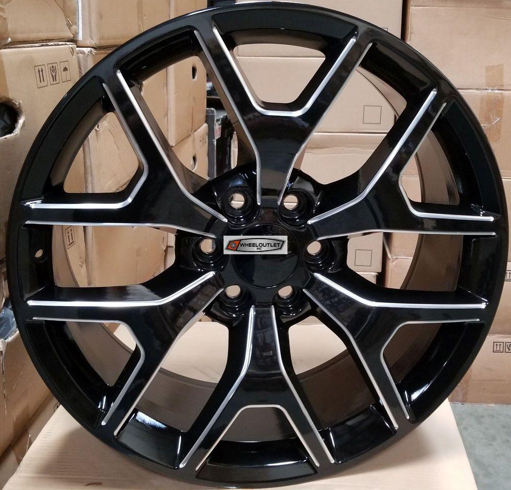 Aftermarket Rims For Chevy Silverado 1500 >> 26 GMC Sierra Replica Wheels Black Milled Rims Tires ...