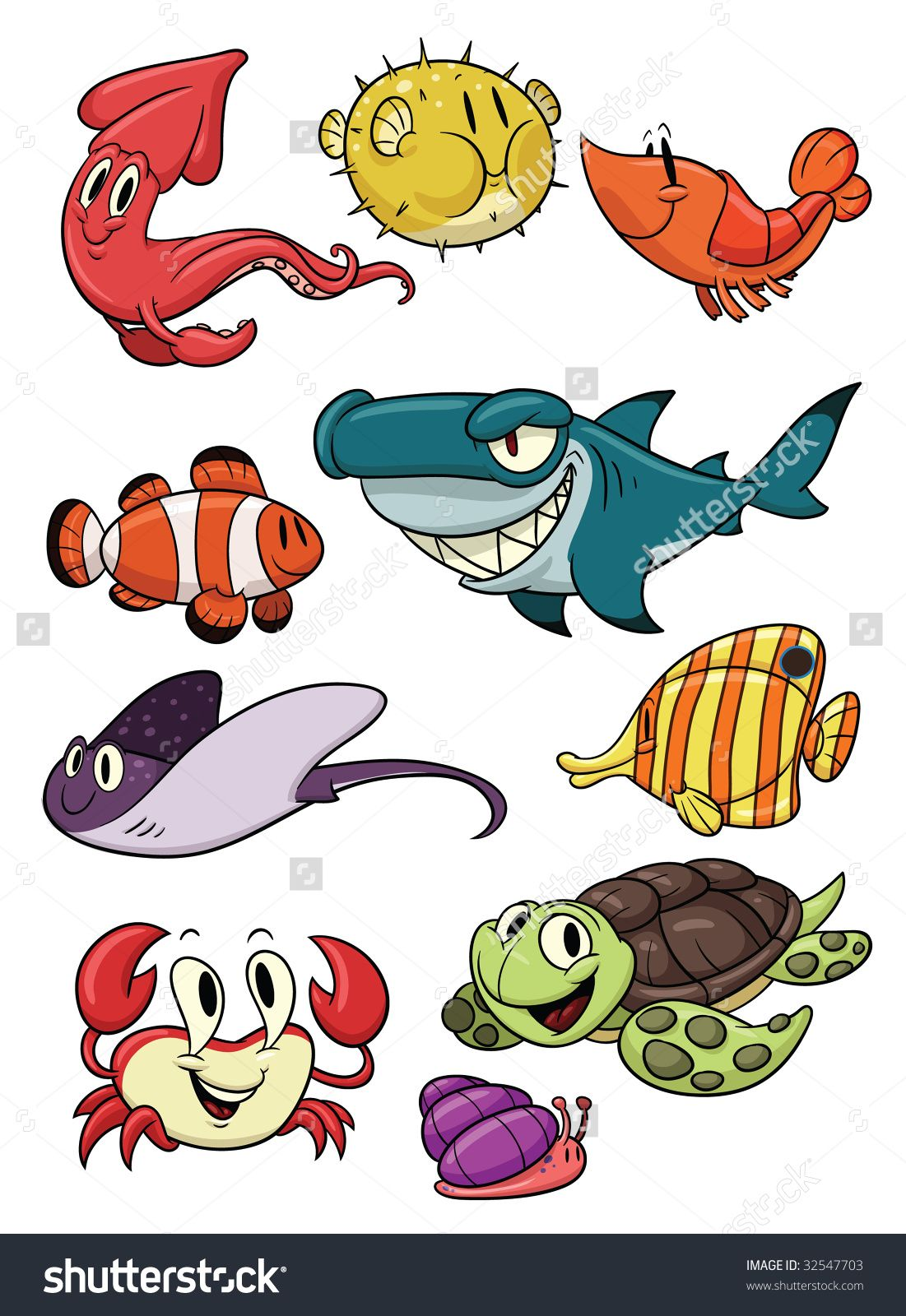 Cute cartoon sea creatures all in different layers for easy editing