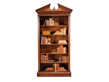 Shop for Jonathan Charles Walnut Open Bookcase With Pediment, 493081, and other Home Office Bookcases at Englishman's Interiors in Dallas, TX. Materials: Hand Carved Detail. Features: Medium Walnut.