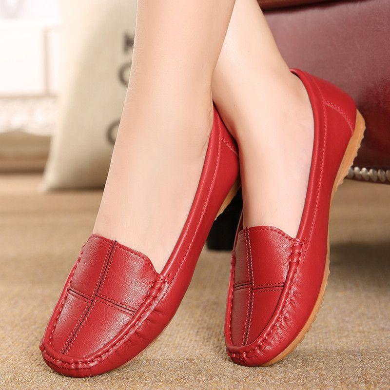 무료 배송 가죽 신발 중년 어머니 신발 건 스키드 신발 얕은 입 부드러운 바닥 새로운 작업 신발 39 40