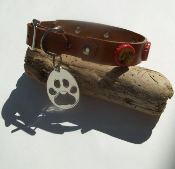 771f662b163 Shiner Bock Beer Cap Dog Collar with Silver Paw Bottle Opener. Acorn Brown.