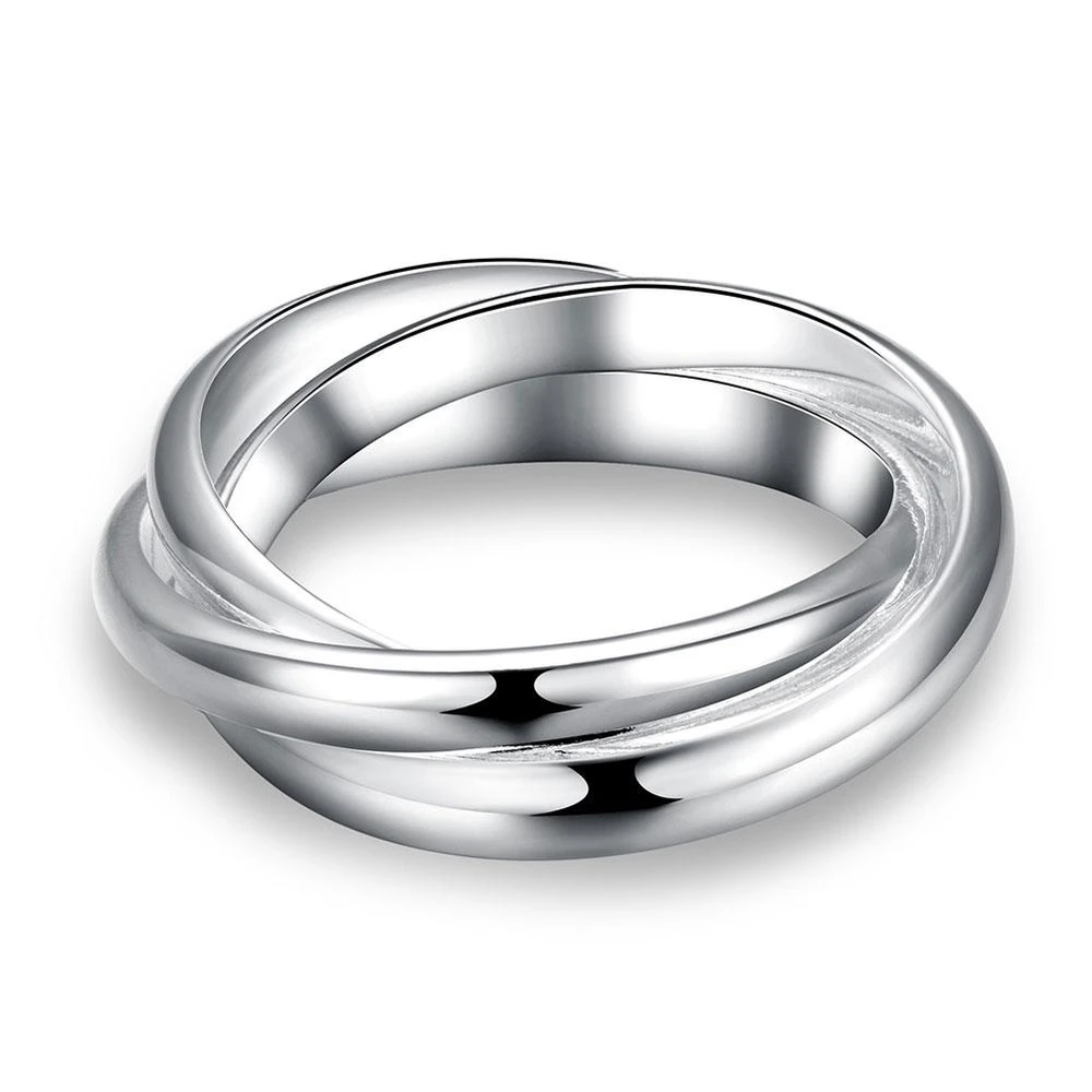18K White Gold Plated Interlocking Band Ring in 2020