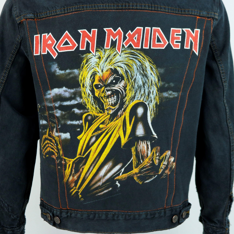 Iron Maiden Levis Black Denim Jacket Jean Distressed Mens Etsy Black Denim Jacket Iron Maiden T Shirt Black Denim [ 3000 x 3000 Pixel ]