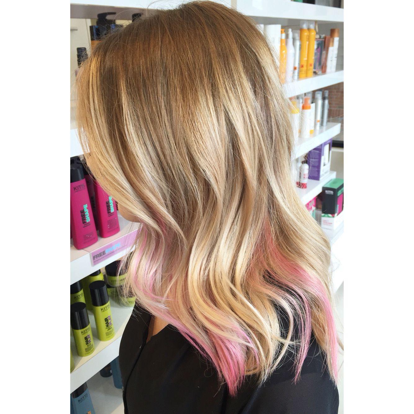 Soft Blonde Balayage With A Peekaboo Of Pastel Pink Pink Blonde Hair Peekaboo Hair Blonde Balayage