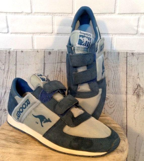 Vintage 80\u0027s Blue Nylon Suede Kangaroo Roos Tennis Shoes