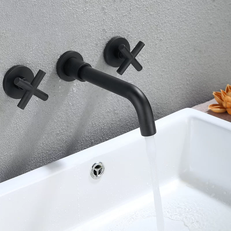 Double Handle Wall Mounted Bathroom Faucet In 2020 Wall Mount Faucet Bathroom Wall Mount Faucet Bathroom Sink Wall Mounted Bathroom Sinks
