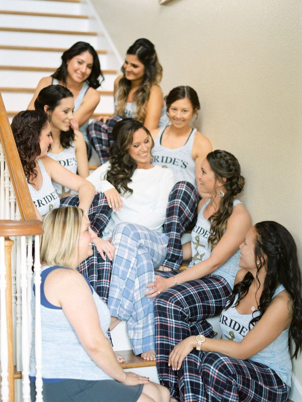 003d0f9b33 Bridesmaids getting ready outfit idea - matching flannel pajama pants and  matching bridal party tank tops  Photography by Nikki Neswick