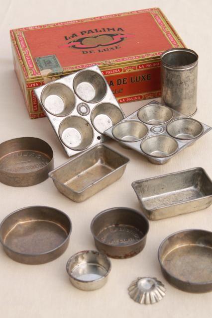 vintage toy kitchen metal baking tins muffin baking pans doll size miniature working bakeware