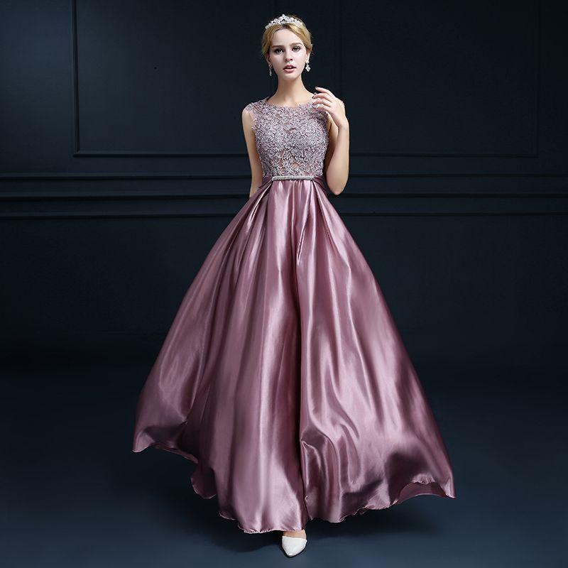 2017 nuevo doble-hombro robe de soirée largo de encaje de color rosa ...