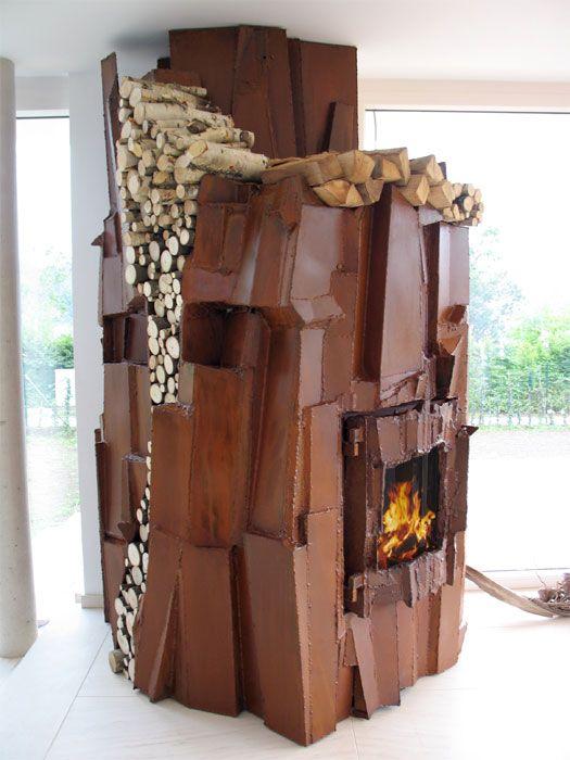 designer fireplace made of Corten Steel - Designer Fireplace Made Of Corten Steel For Our Home Pinterest