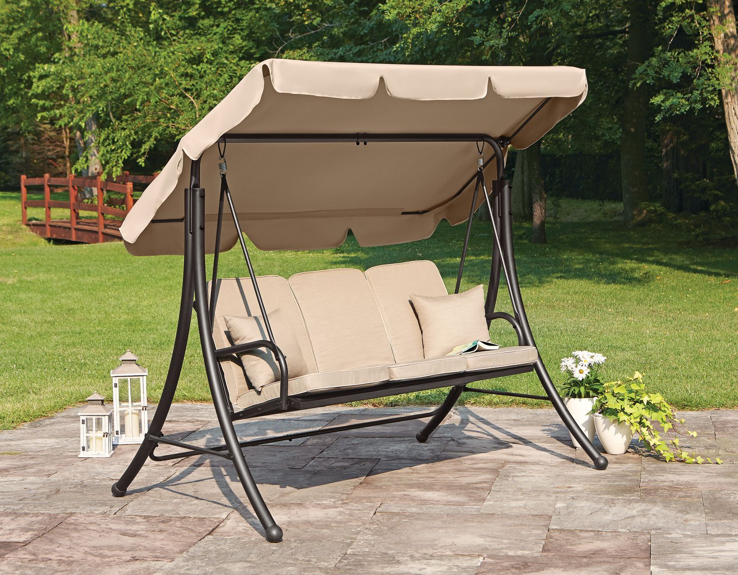 Hometrends Cushioned 3 Seat Swing Garden Chairs Design Pool