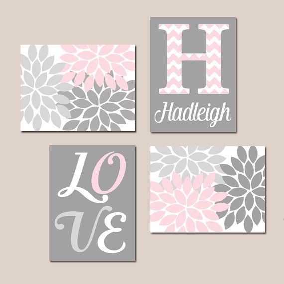 Exceptional PINK GRAY Nursery Wall Decor, Baby GIRL Wall Art, Canvas Or Print Love  Flower