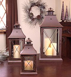 Set of 3 Brown Candle Lanterns - 11.5, 17 and 24 Inch