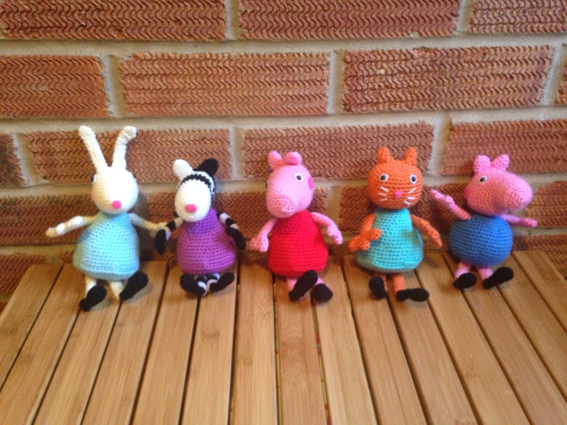 Amigurumi Tutorial Peppa Pig : Peppa pig george pig zoe zebra rebecca rabbit and candy cat