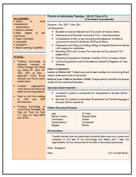 resume sample for experienced chartered accountant  2