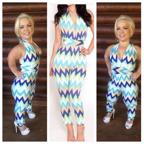 Halter Multi Colored Wavy Jumpsuit For Average Size Height But Made