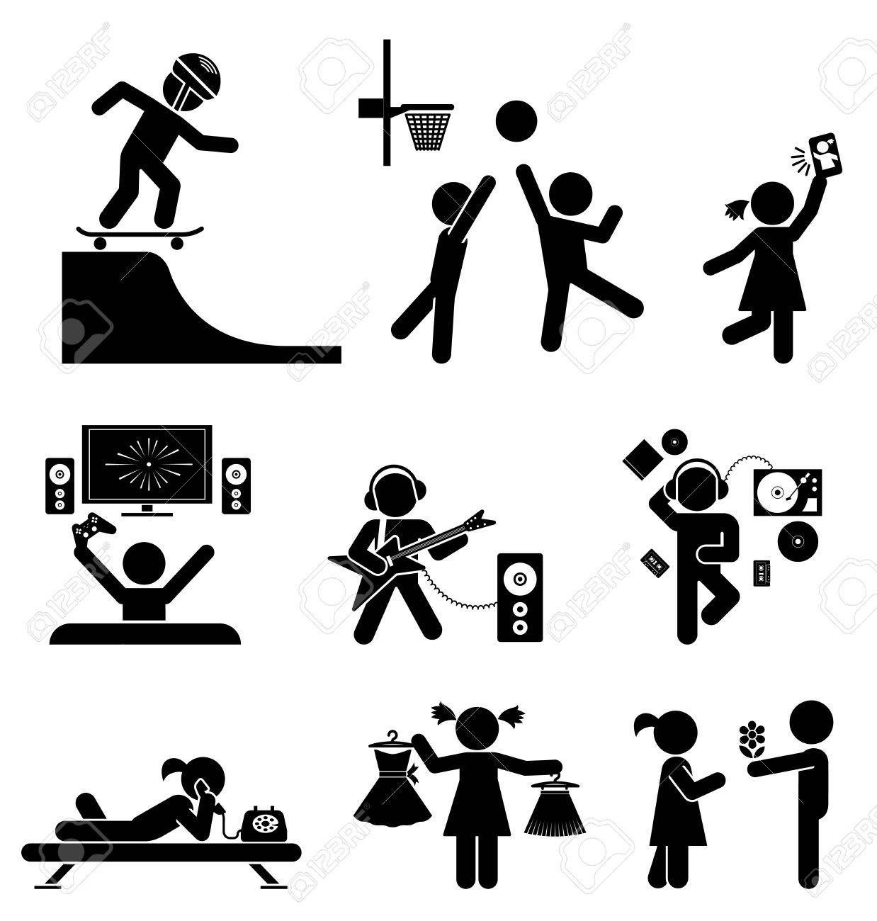 Piktogramme Der Tenagers Spass Vektor Reihe Von Flach Symbole Piktogramm Illustration Symbole