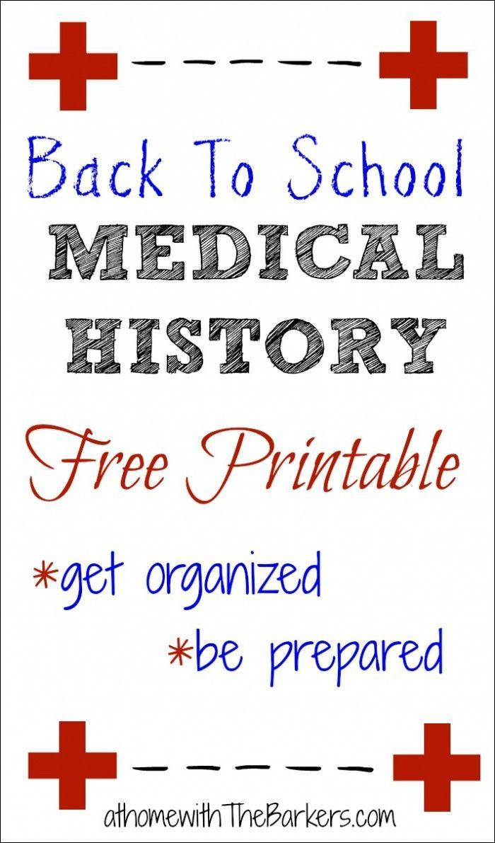 Medical History Free Printable | Medical history, School ...