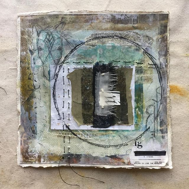 """Like the Morning. A stitched collage, 8"""" x 8"""""""