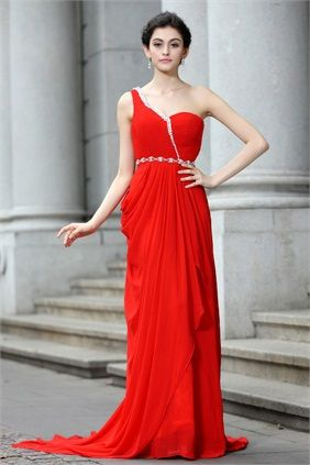 Summer Formal Evening Puddle Train Chiffon Silk-like Satin Special Occasion Dresses
