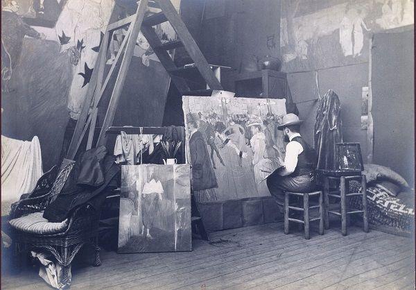 Maurice Guibert : Toulouse-Lautrec peignant «Au Moulin  Rouge, la danse», 1895