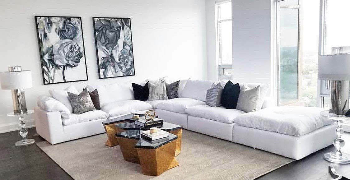 Beautiful White Living Room Decor With Cloud Modular Sectional Sofa Elegant Living Room Furniture White Living Room Decor Modular Sectional Sofa