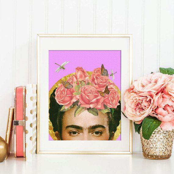 frida kahlo drucken blume collage kunst von artisticsideoflife art pinterest collage kunst. Black Bedroom Furniture Sets. Home Design Ideas