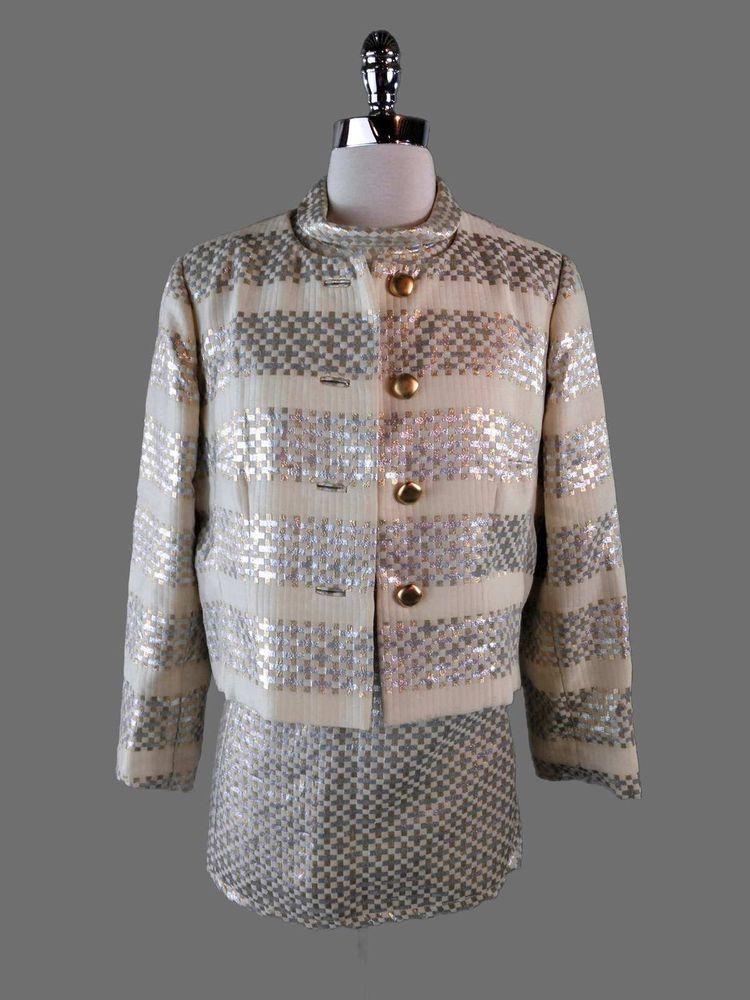 Vintage 60s Mod Dress L Jacket 2Pc Outfit Metallic Silver Gold Twiggy Mini Dress #Stevensons