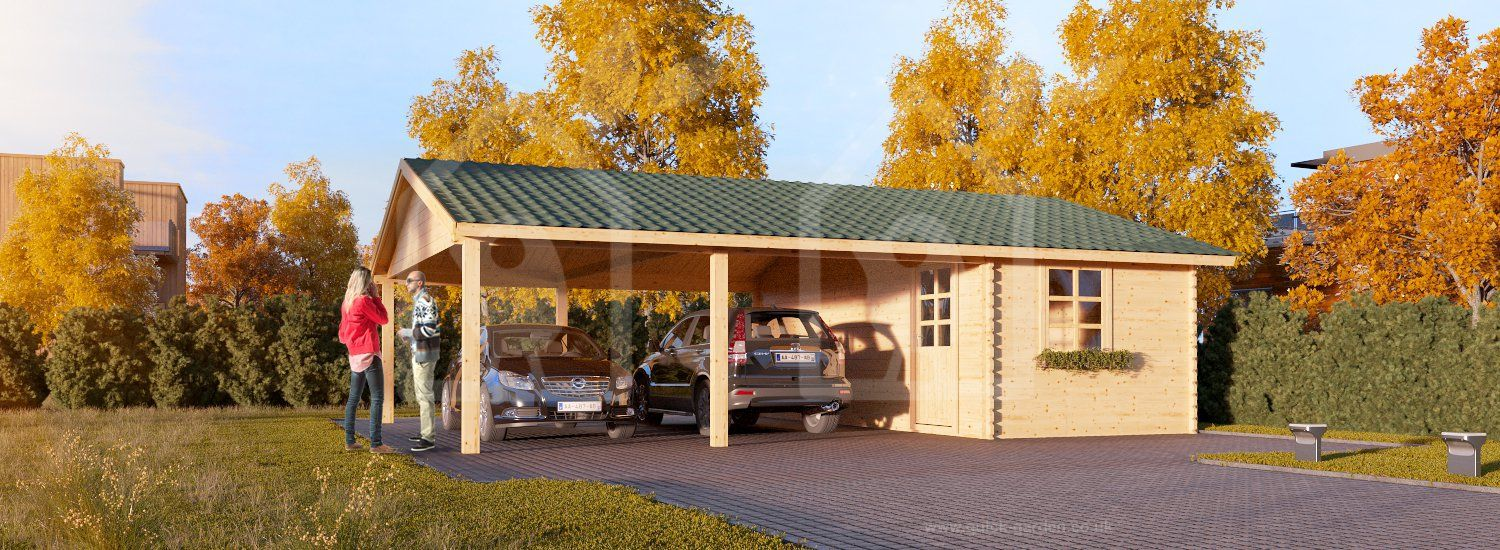 Carport Double 6x7.5 44mm wood free delivery Carport