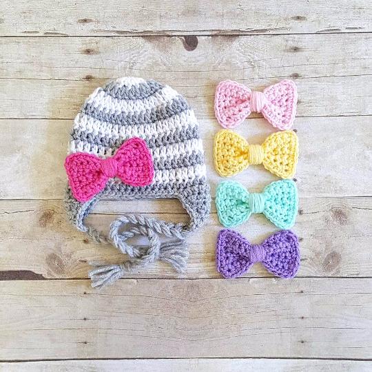 Crochet Striped Detachable Interchangeable Bow Beanie Hat Newborn Baby  Infant Toddler Child Adult Handmade Photography Photo Prop 56fd66d4d779