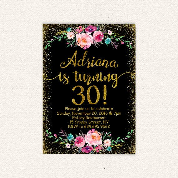 Floral 30th Birthday Invitation For Women, Black And Gold