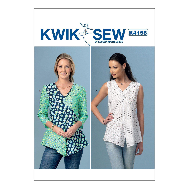 Kwik Sew 4158 Misses' V-Neck, Contrast Tops