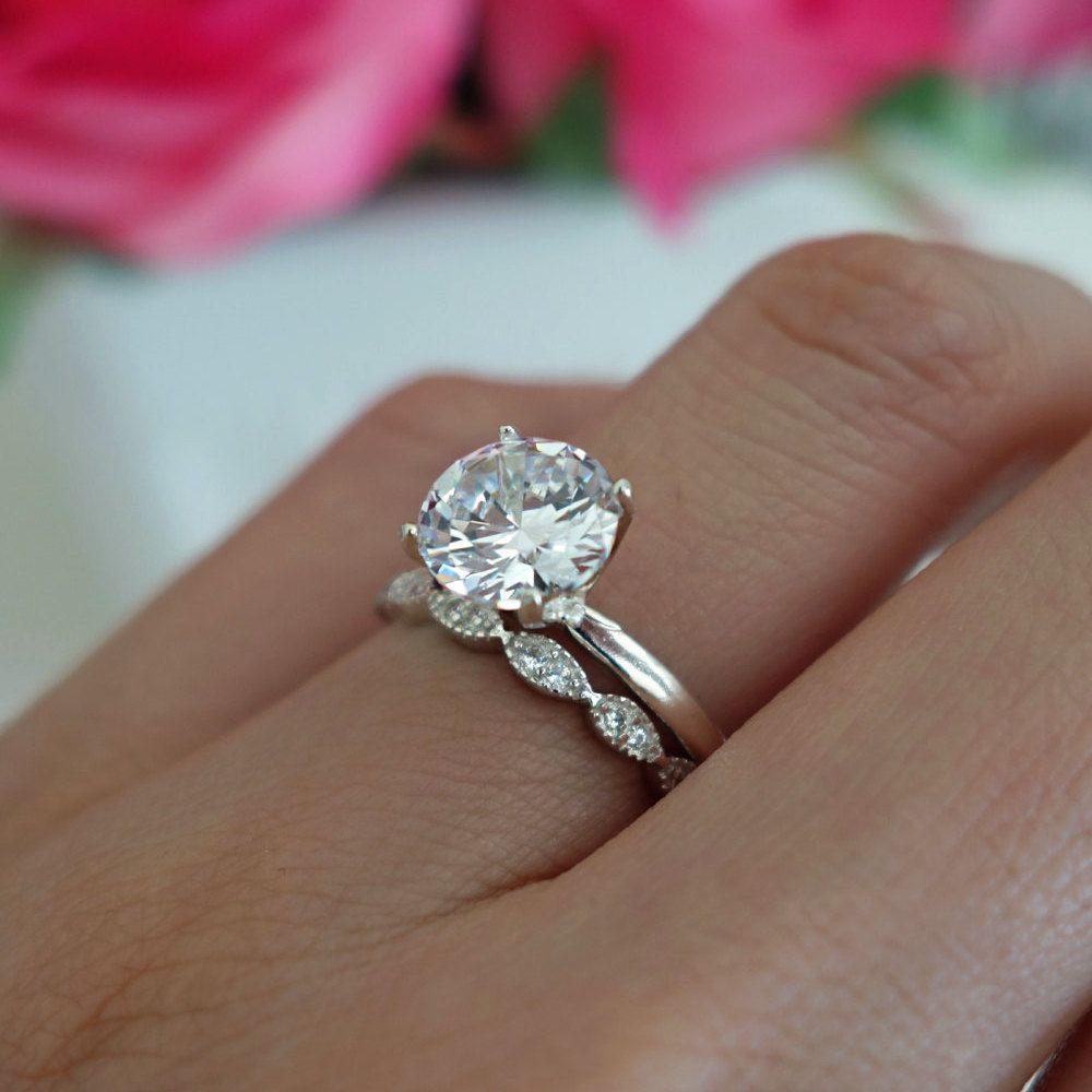 2 Ct Art Deco Ring Round Solitaire Bridal Set Man Made Diamond