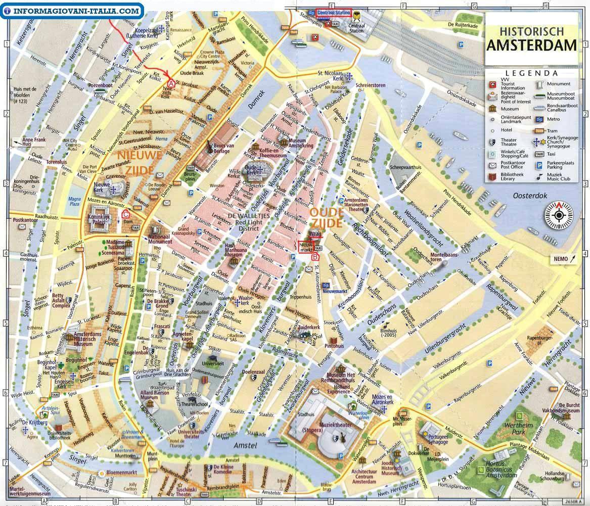 Cartina Amsterdam.Mappa Di Amsterdam Cartina Di Amsterdam Amsterdam Karte Amsterdam Reiseplanung