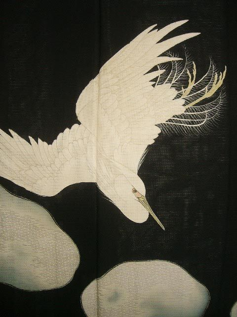 Photo5: E1112M Vintage Japanese Kimono   Black TOMESODE formal Bird Silk. (Grade B)
