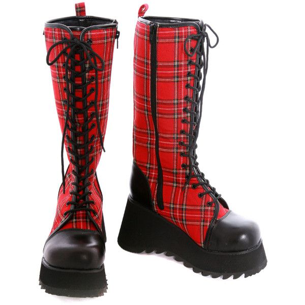 Demonia Red Plaid Lace-Up Wedge Boots