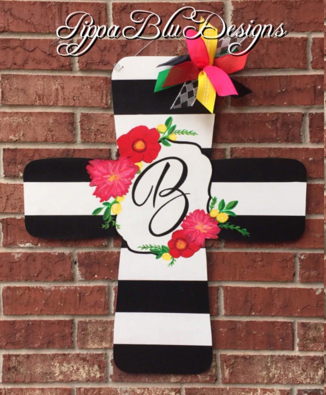 Black and White Striped Monogram Cross Door Hanger, Easter Door, Spring Wreath, Cross Door Hanger, He is Risen, by PippaBluDesigns on Etsy