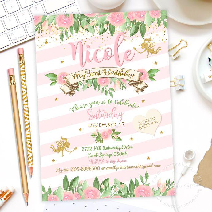 Fairy Invitation, Fairy Birthday, Fairy Party, Whimsical Enchanted - invitation to a party