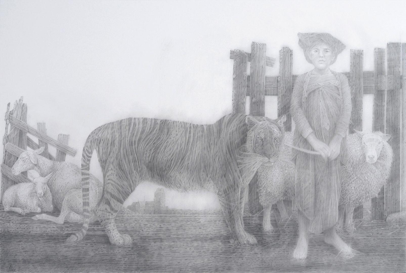 6. Goede morgen mijnheer Lebret, 2014, 93 x 136 cm, potlood Jaap Schlee