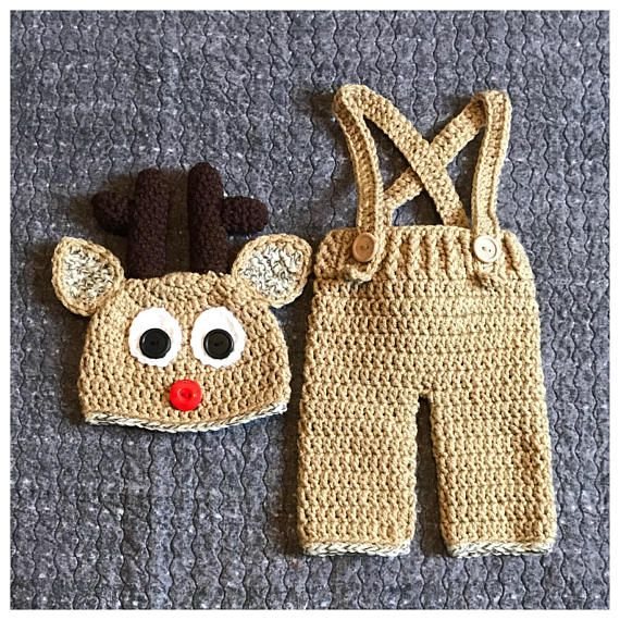 3038677781e27 Crochet Rudolph the red nosed reindeer inspired Newborn Baby outfit costume.  This sweet set