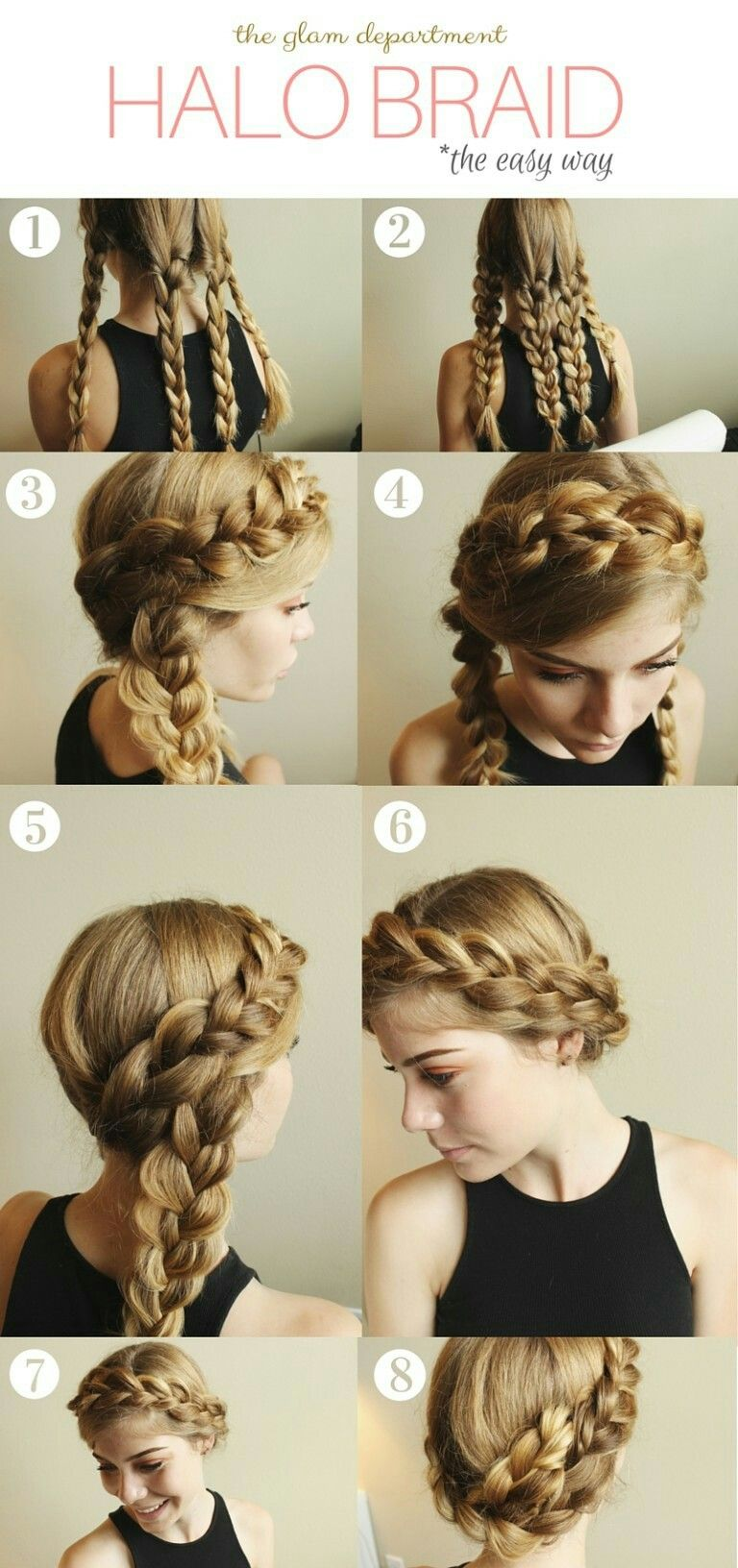 Halo braids the easy way hair pinterest halo braid easy and