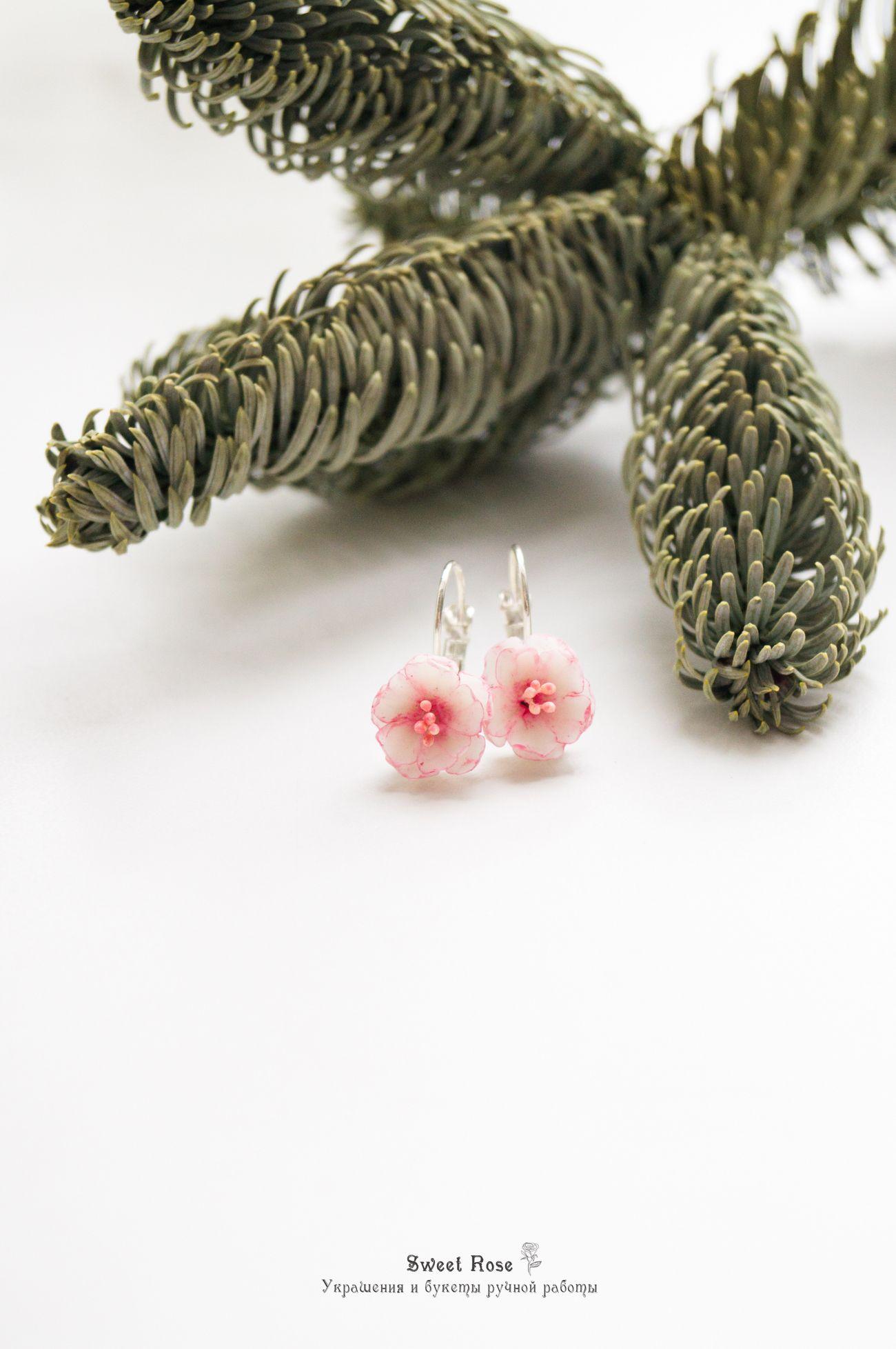 Bridesmaids gift Cherry blossom earrings Bridal stud earrings White bridal earrings Sakura flower earrings Mother/'s Day gift