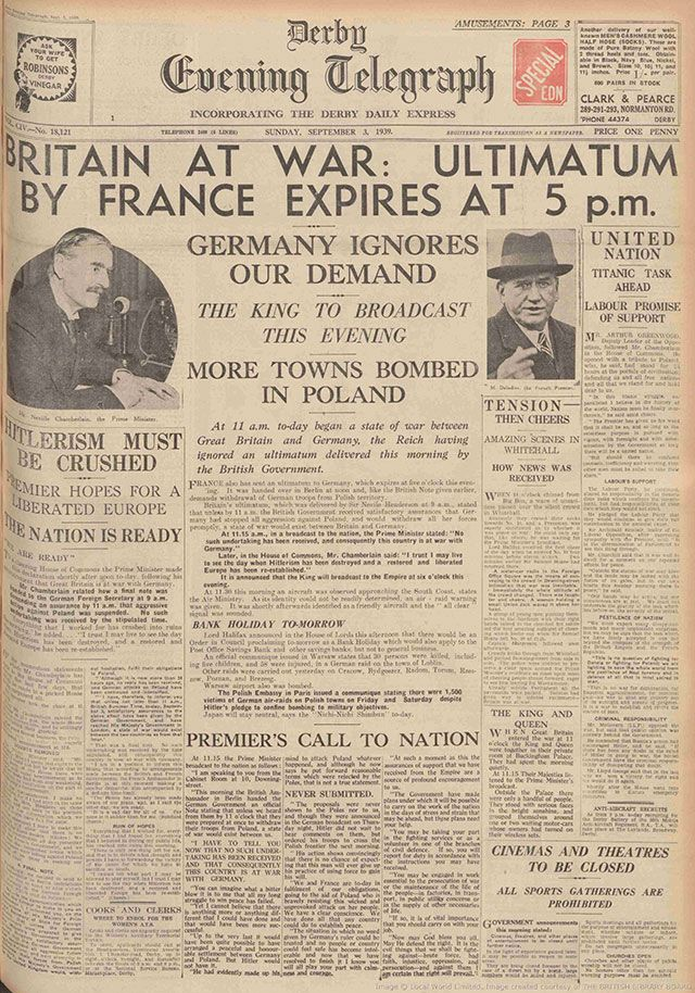 The Derby Daily Telegraph Announces The Start Of Ww  News