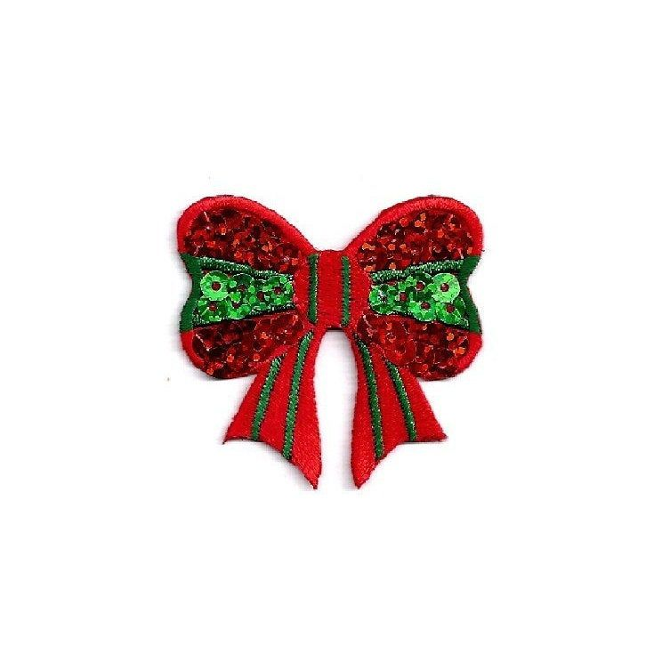 Christmas Bells Embroidered Iron On Applique Patch Crafts Red Bow