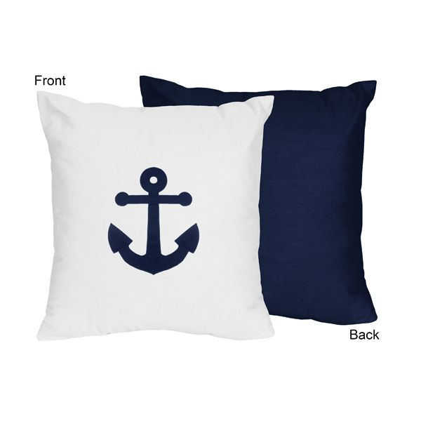 Perfect for any sailor theme decor the Anchors Away nautical 16 x 16 inch reversible pillow #sweetjojodesigns