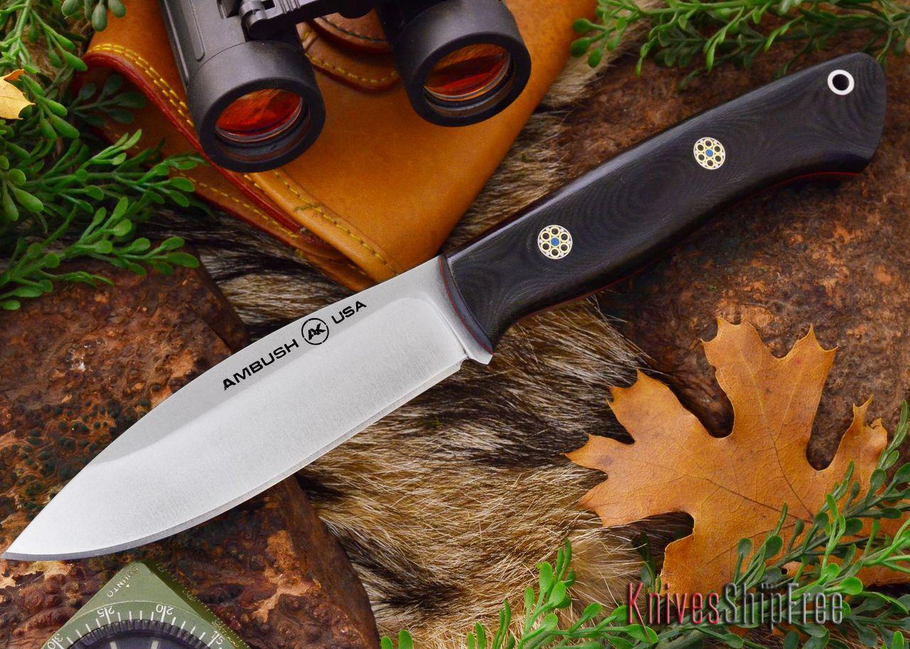 Ambush Knives: Tundra - Satin Finish - Black Linen Micarta - Red Liners - Mosaic Pins