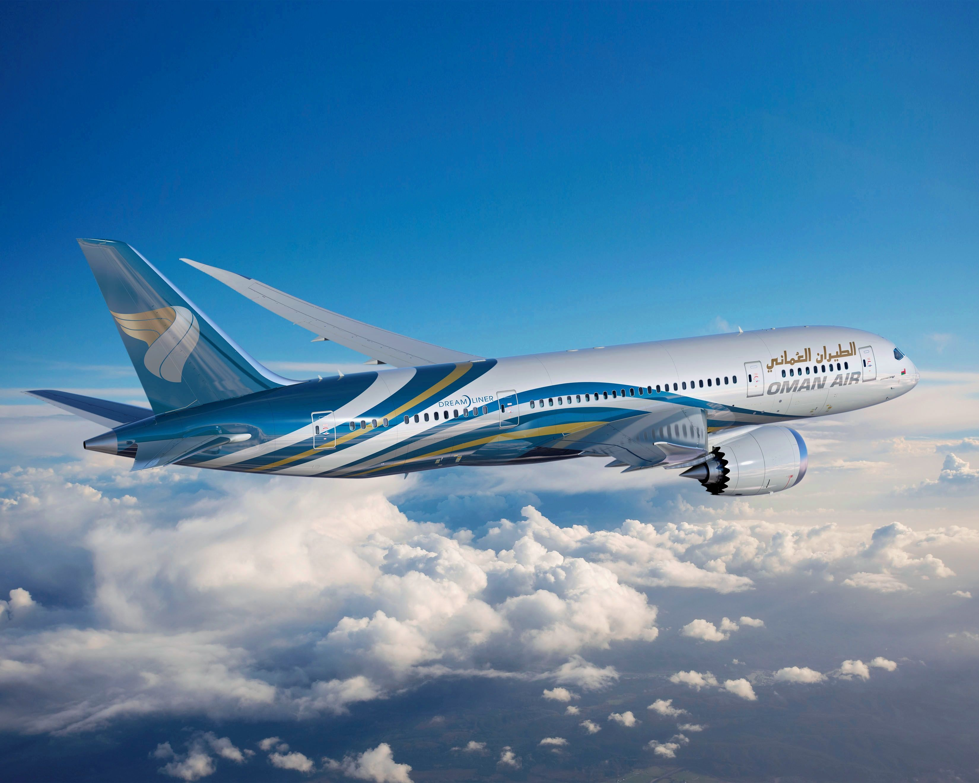 Oman Air's first 787 Dreamliner. Love their livery!
