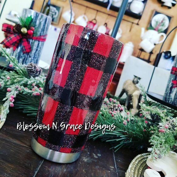 7220b9a3600 Buffalo plaid glitter tumbler, custom tumbler, Christmas tumbler, Plaid  tumbler, Yeti glitter, glitt