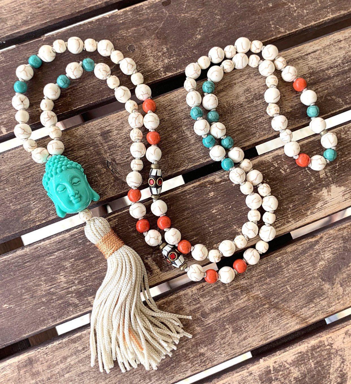 Sacred Geometry Jewelry Yoga Mala Necklace Mandala Long Tassel Necklace Black Onyx Quartz Matte Mala Beads