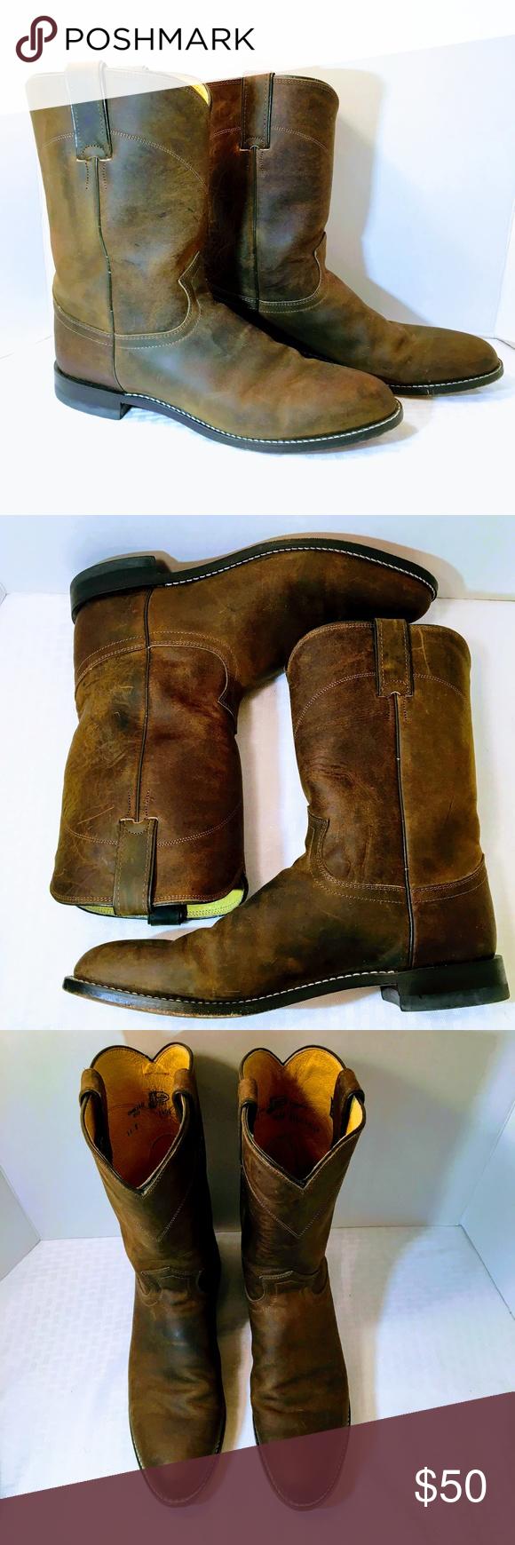 f4352176ba063 Justin Roper Bay Apache 10 inch Boot Justin Men's Classic Roper boot in Bay  Apache Cowhide